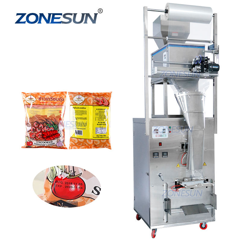 ZONESUN 10-999G Large Capacity Automatic Filling Sealing Machine Food Coffee Bean Grain Power Bag Back Seal Packaging Machine