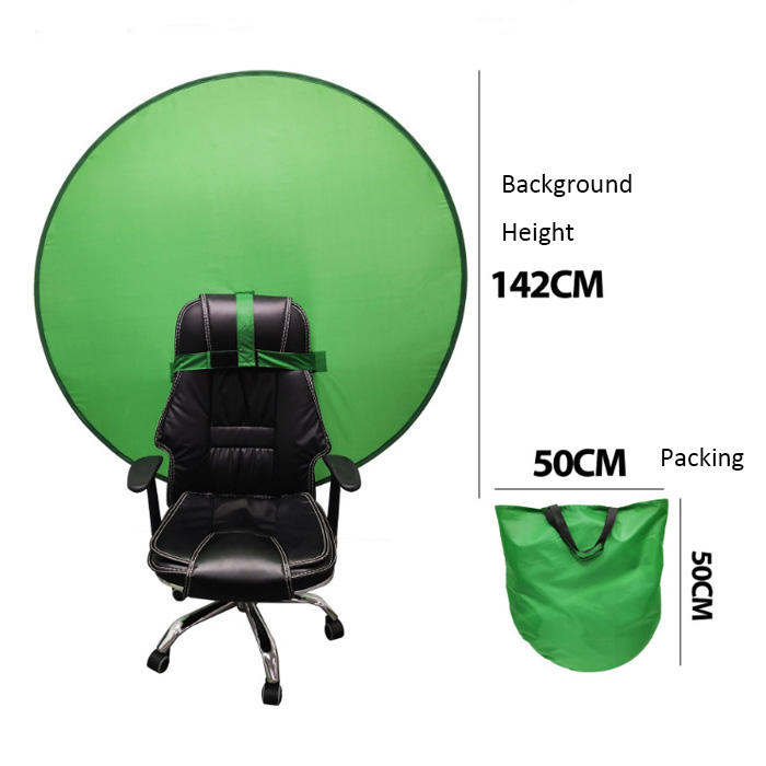 Green color portable chair webcam background