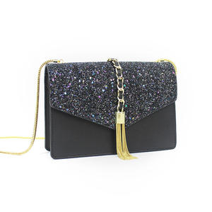High Quality Tassel Glitter Ladies Leather Envelope Clutch Bag with Gold Chain