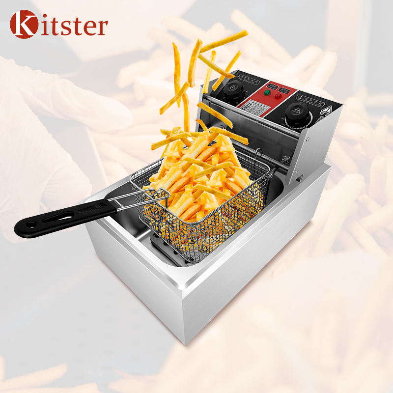 Restaurant kitchen mobile tabletop equipment commercial grade electric deep fryer timers potato rinds chips oil fryer board