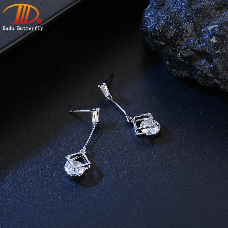 Fashion earrings square shape long pendent with big round zircon diamond for women gift