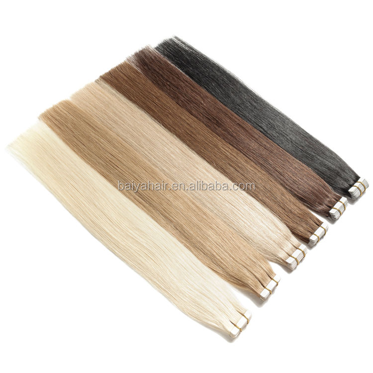 Wholesale Factory Price Russian Remy Tape In Human Hair Extensions Double Drawn Tape Hair Cuticle Aligned Virgin Hair
