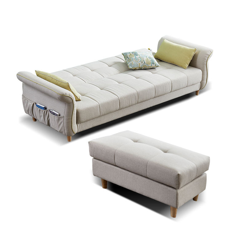 White 3+1 4 seater fabric folding sofa bed with single sofa set and storage for living room furniture