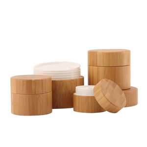 Organic natural luxury wood empty cosmetic packaging face 50ml cream bamboo plastic jar