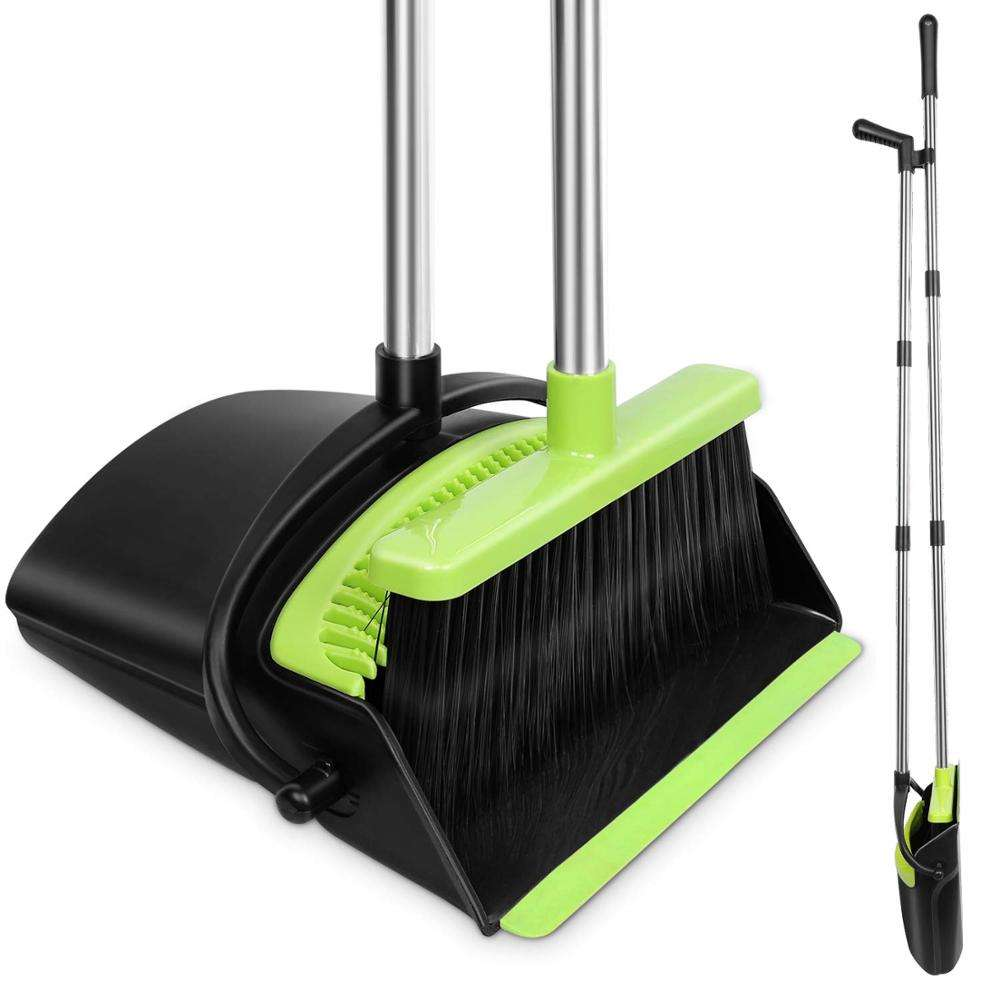 Cleaning Supplies Upright Broom and Dustpan Combo with Long Extendable Handle for Home Kitchen Room Broom and Dustpan Set