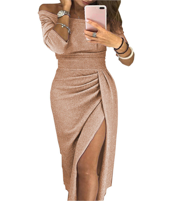 long fashion wholesale Ladies Hip Slit world Collar Dress Glittering Dinner Dress