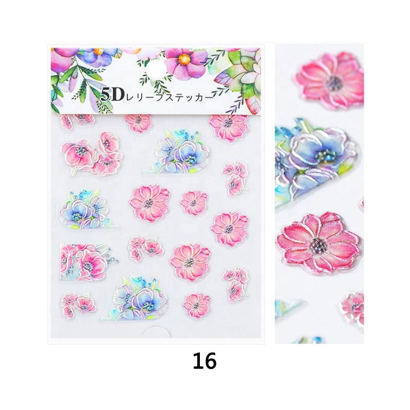 5D nail polish embossed false with stickers wrap strips printing machines designed nails for children