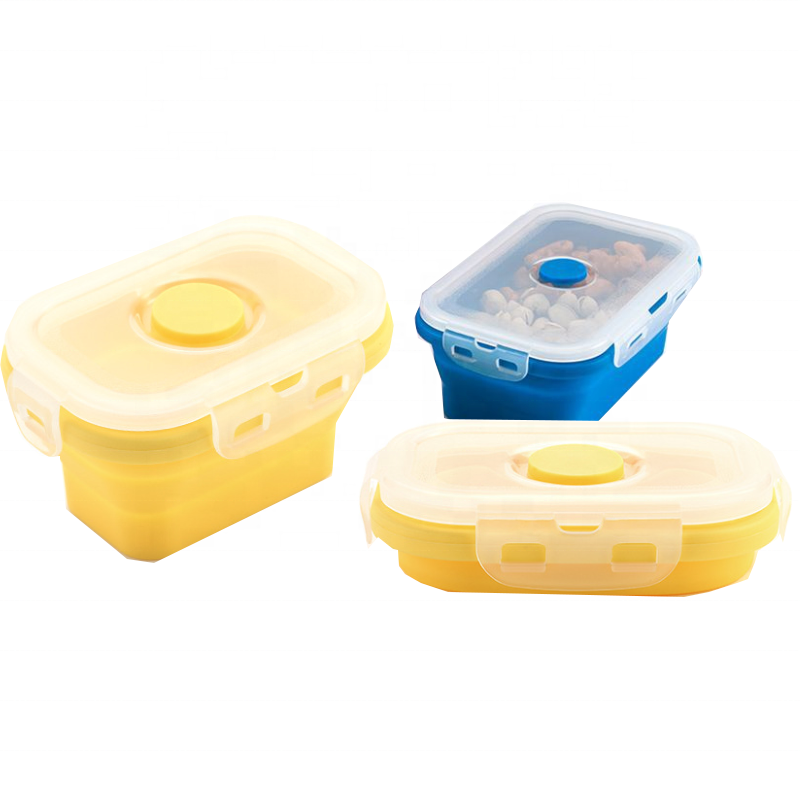 Foldable Silicone Collapsible Storage Bins Lunch Box Food Tupper Silicone Food Storage Container Set Kid Lunch Box