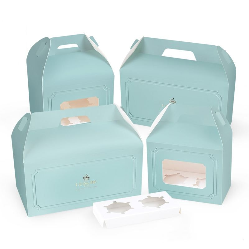 Great quality in stock disposable handle box with window cup cake box for 1-6 small cakes