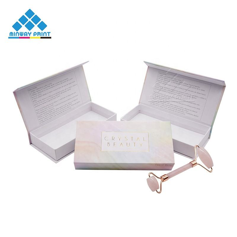 Customized Luxury Gold Foil Stamping Rigid Paper Packaging Boxes Private Label Jade Roller and Gua Sha Box Shipping box