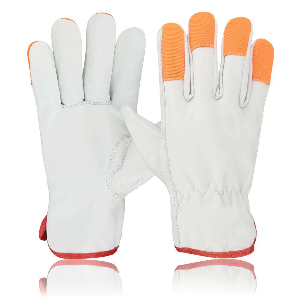 Driver Gloves made cow grain leather Keystone thumb/ red cotton piping/yellow stripped on backd sides of fingers/elastic shired