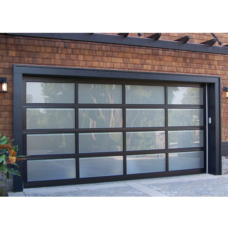 Aluminum alloy material frosted glass new black sectional panel garage door