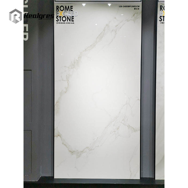 Realgres 1200x2400 size bathroom wall tile cheap white marble floor porcelain slabs large format ceramic tiles