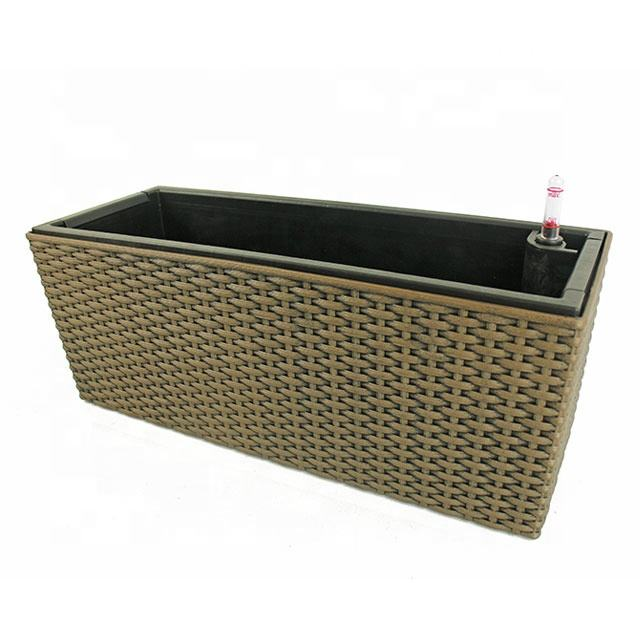 Rattan Style Rectangular Self Watering Planter Pot Box With Drainage Hole