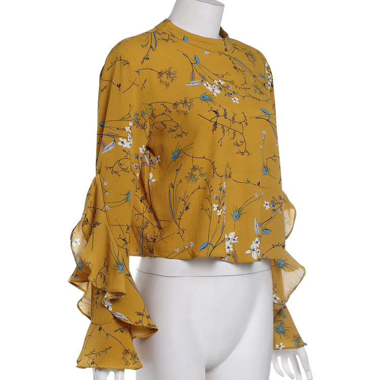 OEM Clothing Long Ruffle Sleeve Chiffon Floral Fashion Women Office Blouse With Keyhole Back