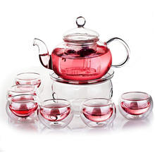 Transparent Tea Maker Teapot with a Warmer and 6 Tea Cups Set