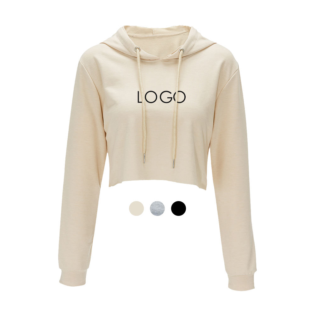 In-Stock Items Custom Logo Printing Cotton Short Hoodie Sweatshirts Women Crop Top Hoodie