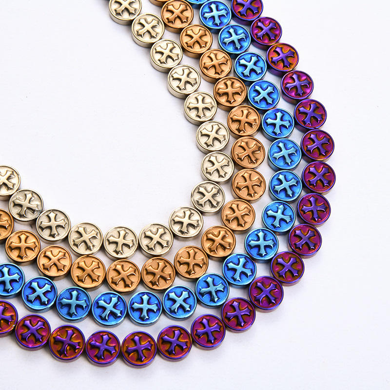 Full Strand Hematite Cross Charm Loose Beads Strands for Jewelry Making Hot sale products
