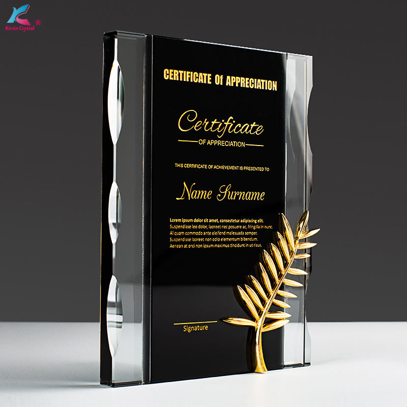 factory wholesale gold custom made laser engrave crystal trophy