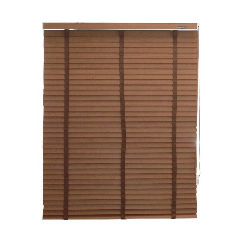 50mm PVC Basswood Wooden Slats Rolling Down Faux Wood Roller Venetian Blinds Shutters