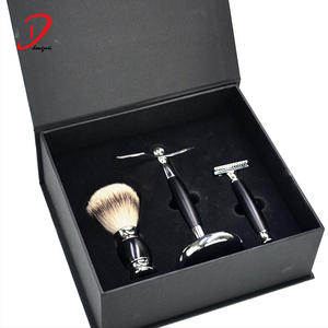 Gift Set Safety razor Shaving Kit  Badger hair shaving brush   Chrome Razor Stand Shaving Set