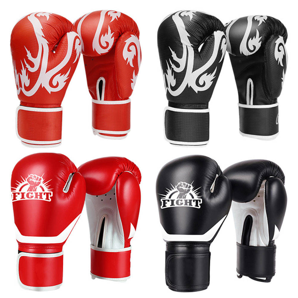 Custom Logo Design Synthetic PU Leather Real Cowhide Leather Professional Sparring Train MMA Boxing Gloves for Men Women Kids