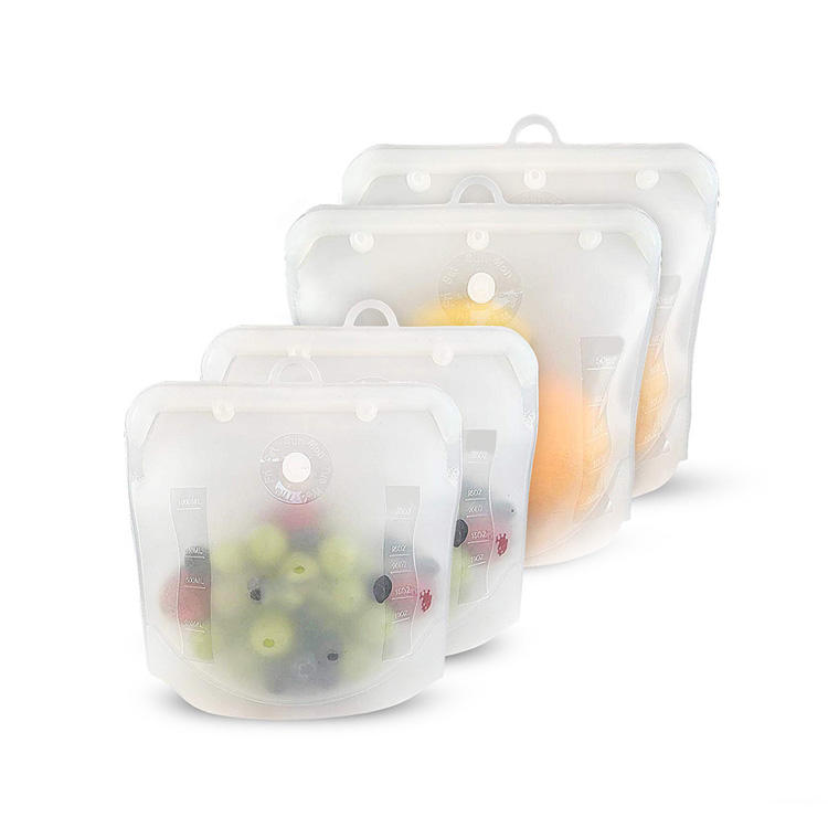 Wholesale cheap leakproof food grade liquid ziplock silicone reusable food storage bags