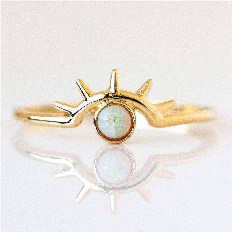 VRIUA Vintage Ring Sets for Women Bohemian Eye Gold Color Opal Stone Statement Rings Finger Jewelry