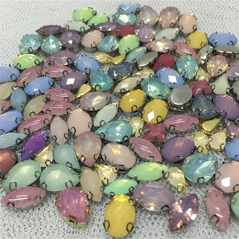 Mix shape flat back acrylic stones sew on rhinestone