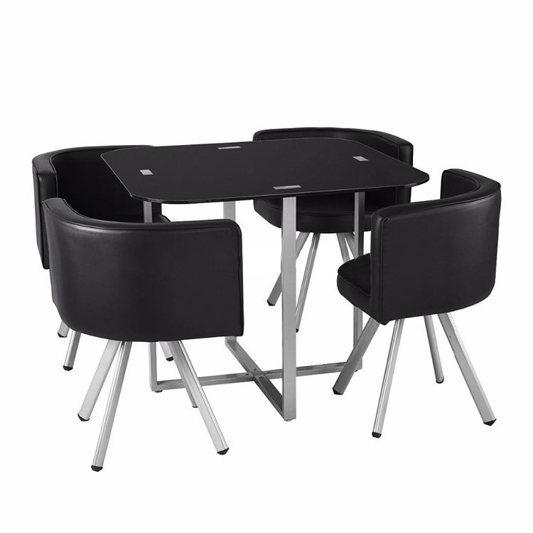 4 Chairs Round black Tempered Glass Space Saving Dining Room Sets