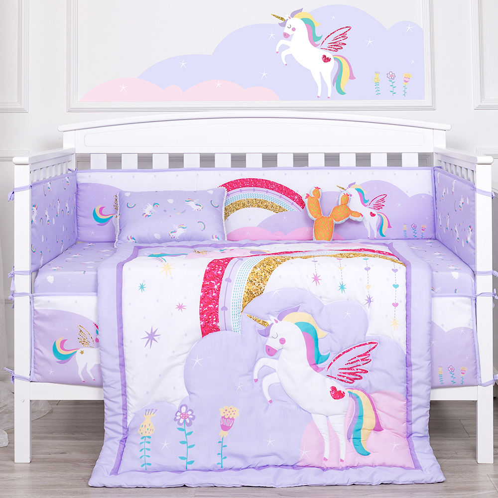 Rainbow unicorn theme cot set crib bedding organic baby crib bedding set for girl
