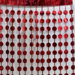 Circular design Glossy Decorative curtain foil decorative curtain FOIL FRINGE CURTAIN