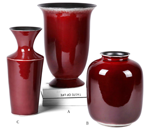 High temperature Chinese Red Porcelain Ceramic Vase For Home Decoration