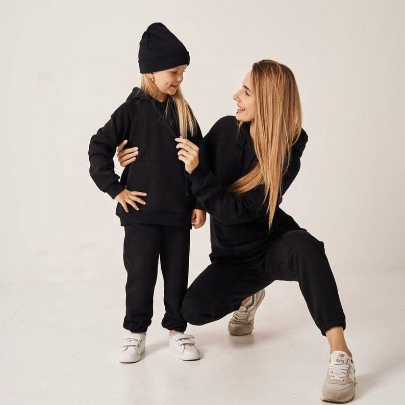 Winter Autumn family hoodie+jogger set clothes mommy and son daughter matching outfit mommy and me outfits