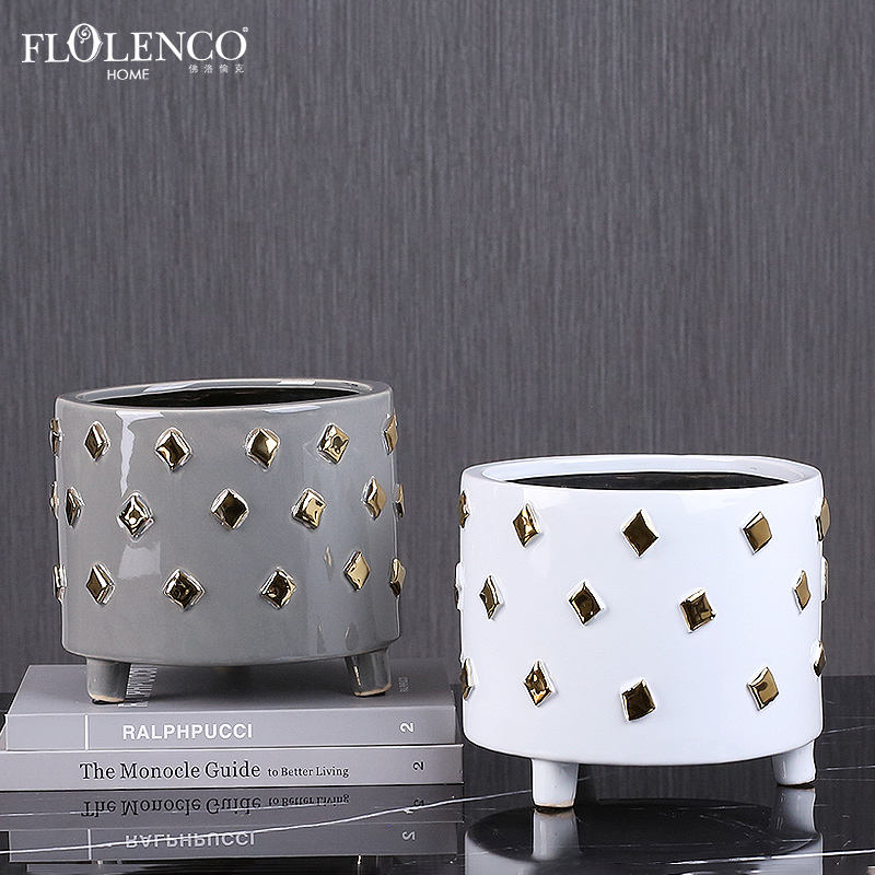 Hot Deal [ Home ] Decoration Pieces Home Decoration Accessories Pieces Interior Dekoration Large Wide Mouth Ceramic Flower Pot