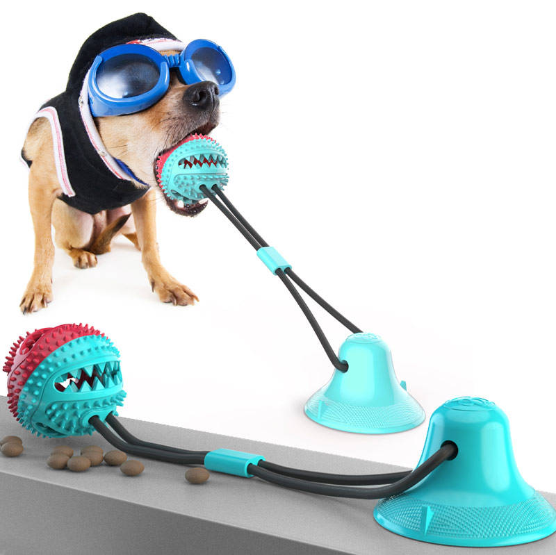 Eco Friendly Suction cup dog pulling sound bell chew toy