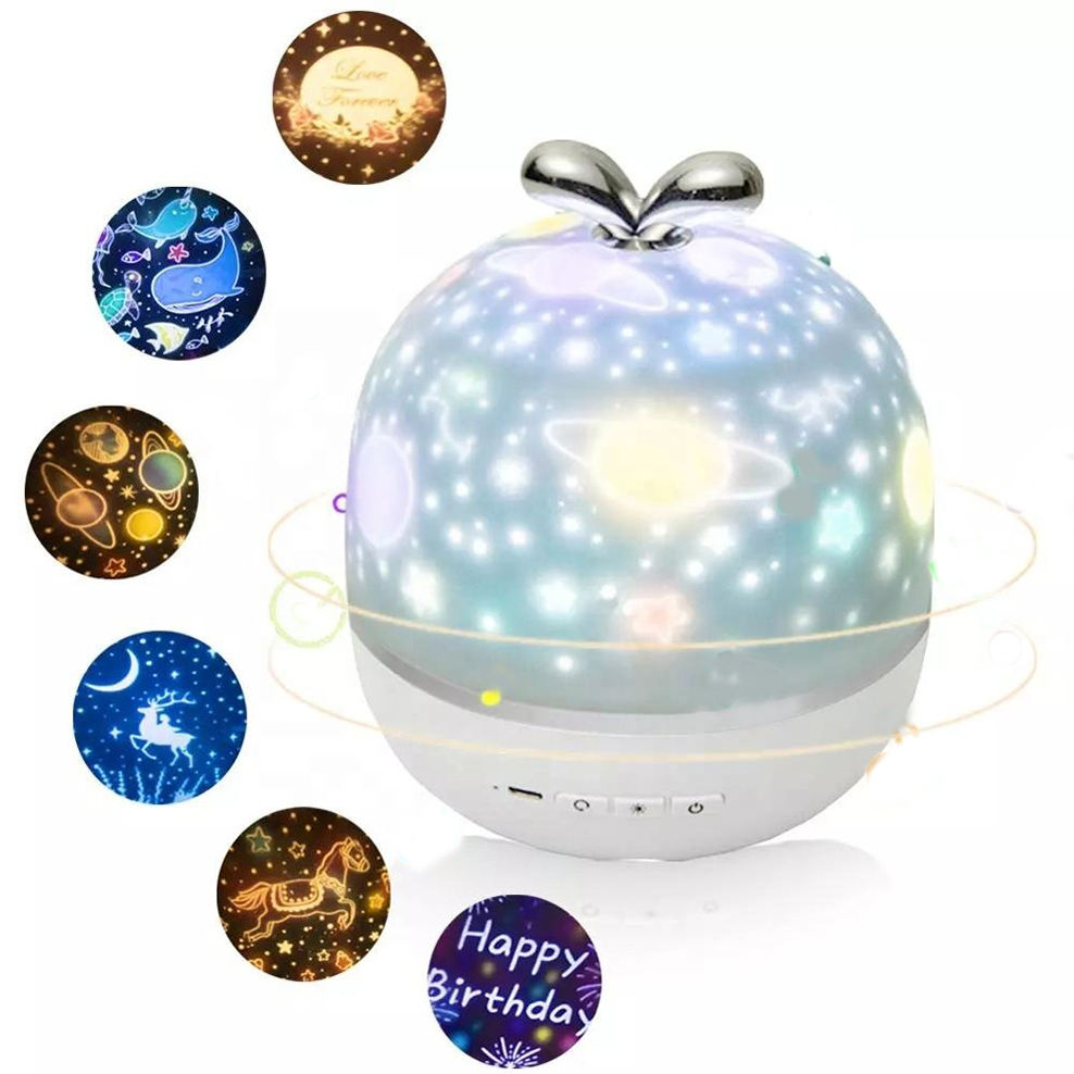 2020 Romantic Night Lamp Colorful 360 Degree Romantic Sky Moon Star Room Rotating 3D LED Speaker Night Light Projector