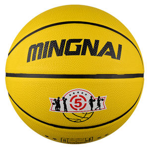 MING NAI Children Rubber basketball size 5 Bright yellow Medium ball Game ball, Boy Gift, Customized Logo Size3~ 7