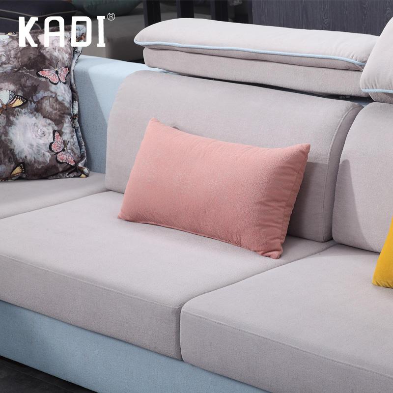Salón del Hotel en forma de l funcional hogar habitación sofá de tela