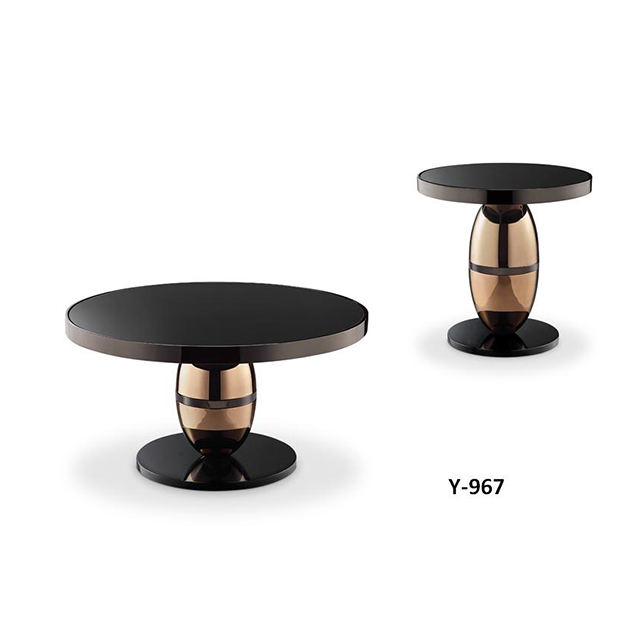 Modern Elegant Living Room Design Furniture 2 Piece Black Gloss Tempered Glass Round Coffee Table Set