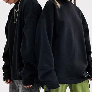 Wholesale plain black tshirt long sleeve sweatshirts unisex thick 100 blank cotton jersey pullover plain sweatshirt for couple