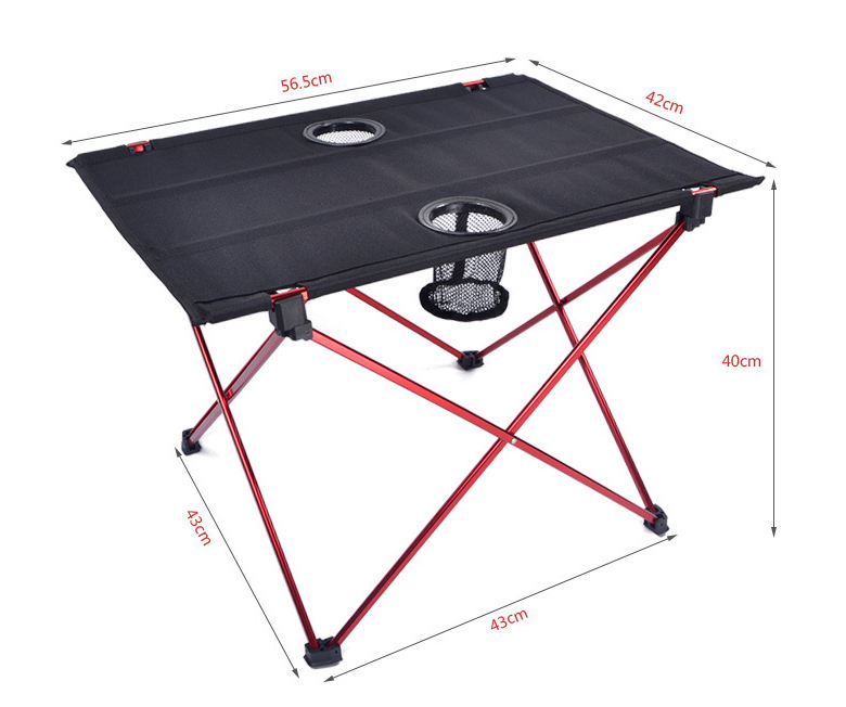 china wholesale roll up oxford picnic folding camping table with cup holder