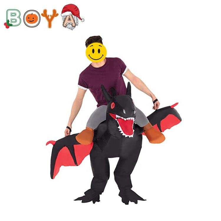 Halloween Customized Props and Costumers Walking Fire-breathing Dragon Inflatable Dinosaur Costume for Men Women