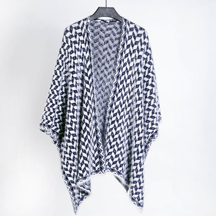 Großhandel Custom Mode V Neck Plaid Batwing Hülse Frauen Schal Poncho Pullover