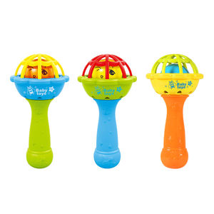 Factory price ABS plastic stick baby rattles teether hand bell baby rattle toys