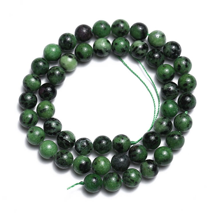 Natural Round Epidote Rubys Zoisite Stone Beads Gem Loose Beads For Jewelry Making DIY Fashion Bracelet 8mm 15 inches