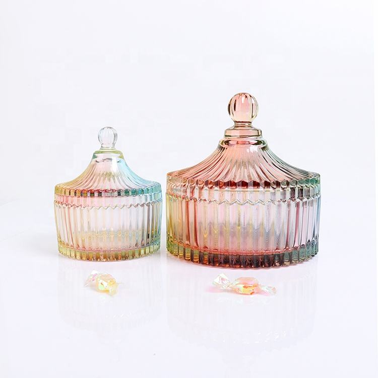 BOYE Crystal Rainbow Colorful Iridescent Large Storage Glass Candle Jars With Glass Dome Lid