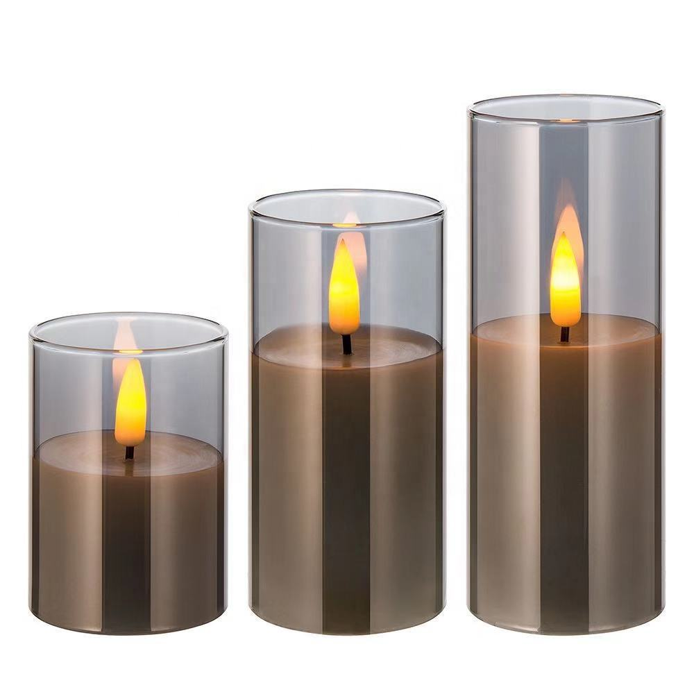Professional set of 3 real flame D5 H10 H12.5 H15 pillar grey glass battery operated home decoration LED flameless candle