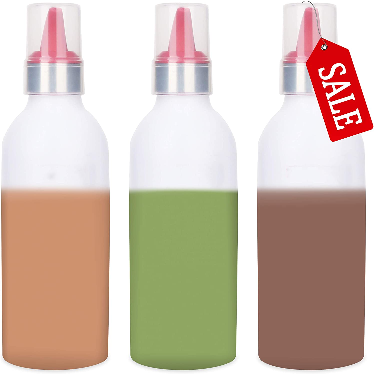 3 PCS Condiment Squeeze Bottle Sauce Squeeze Squirt Bottle for Kitchen Plastic Syrup Container Food Dispenser for Oil Ketchup