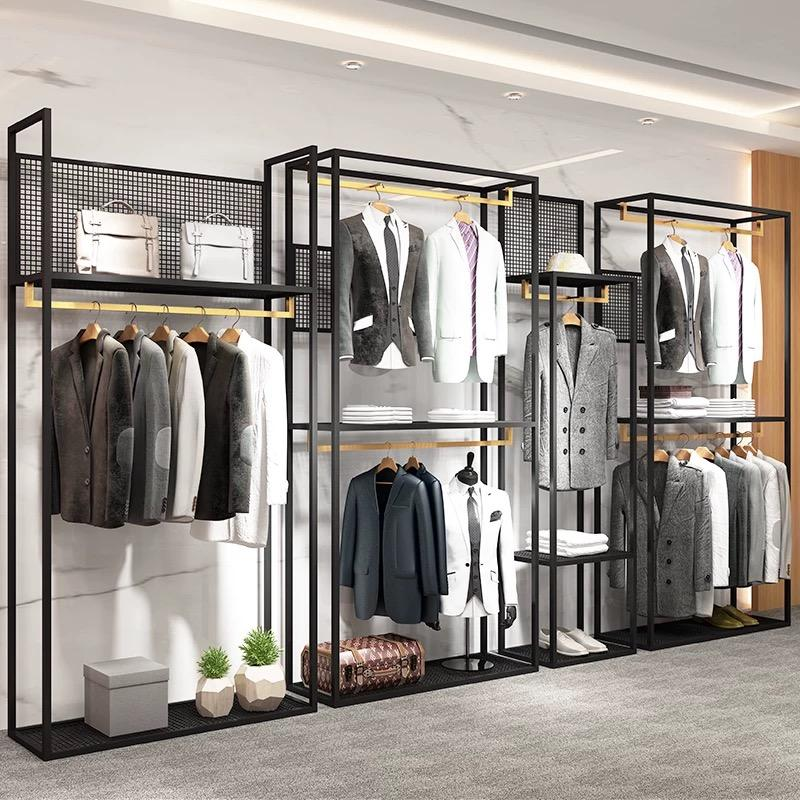 Guangzhou Factory Sale Menswear Shop Interior Design Customized High Quality Men Clothing Store Fixture Suit Shop Display Rack